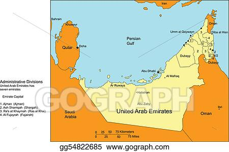 Vector Stock United arab emirates with cities and surrounding