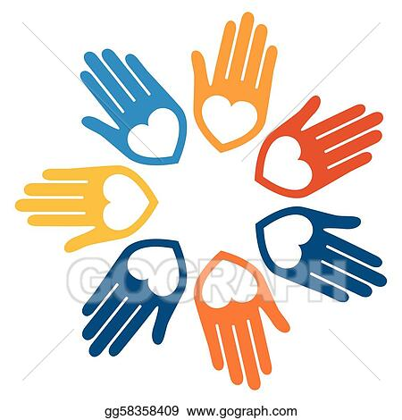 vector illustration united hands and hearts design eps clipart rh gograph com Reaching Hands Vector hands united vector free