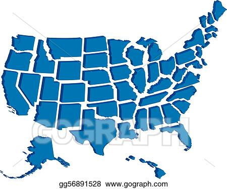 Vector Art - United states 3d map. EPS clipart gg56891528 ...
