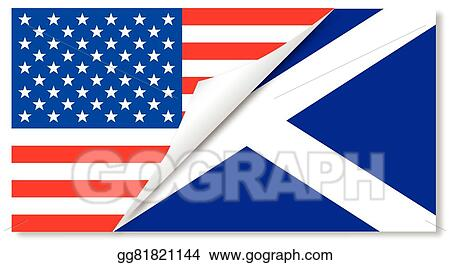 Vector Illustration United States And Scotland Flags Combined Eps