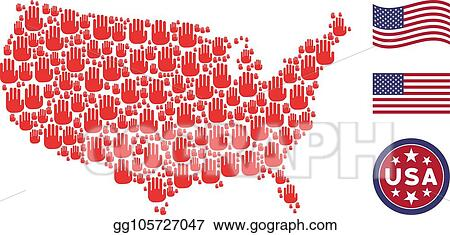 Us Map Photo Collage.Eps Illustration United States Map Collage Of Stop Hand Vector