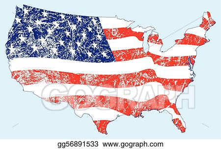 EPS Illustration - United states map with flag and grunge. Vector ...
