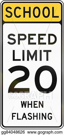 Stock Illustration - United states mutcd school zone road