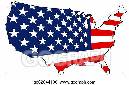 Stock Illustration United States Of America Flag Map Clipart - American-flag-us-map