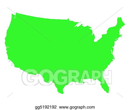 Drawings - United states of america outline map. Stock ...