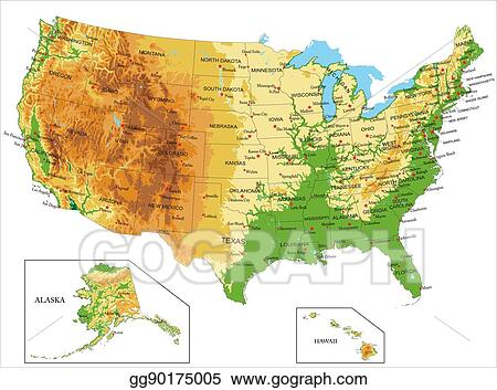 Vector Stock - United states of america-physical map. Stock Clip Art ...