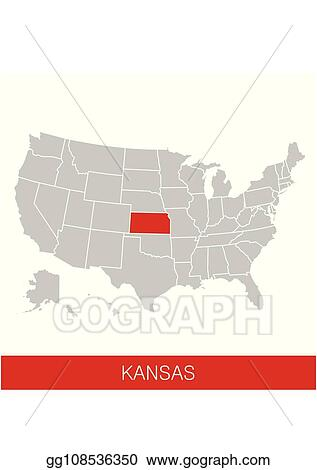 Map Of America Kansas.Vector Stock United States Of America With The State Of Kansas