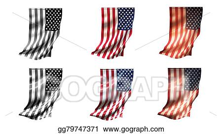 Drawing United States Of American Flags Waving Set 6 In 1 Vertical