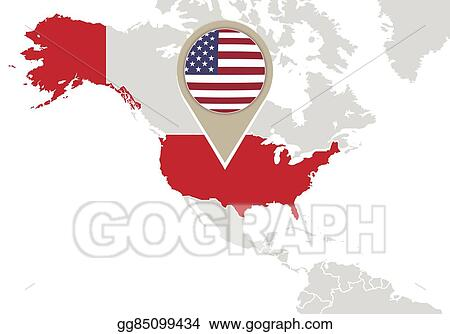 Vector Art - United states on world map. Clipart Drawing ...