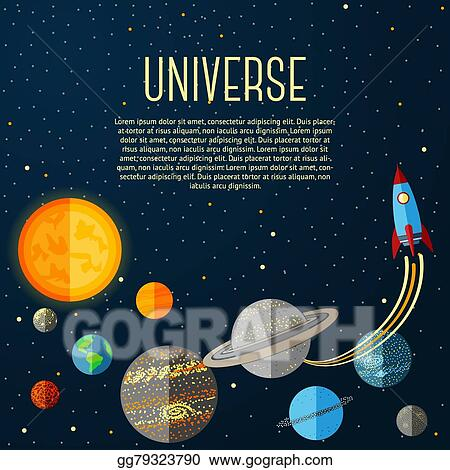 Vector Art Universe Banner With Solar System Stars And Space Rocket Vector Eps Clipart Gg79323790 Gograph