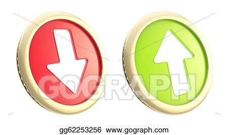 Clipart - Up and down arrows as coin token isolated  Stock