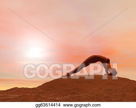 stock illustration  upward facing pose dwi pada viparita