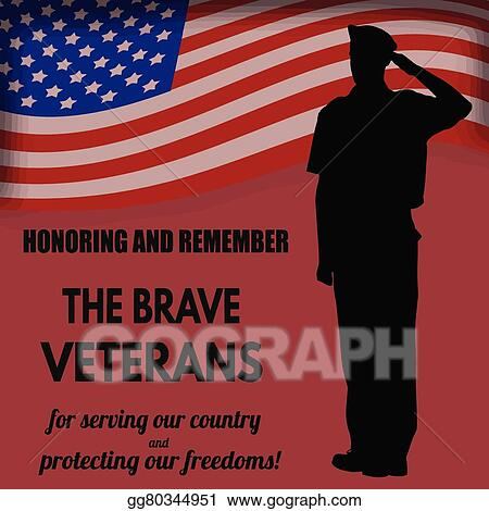 Vector Art - Us army soldier saluting the flag  Clipart