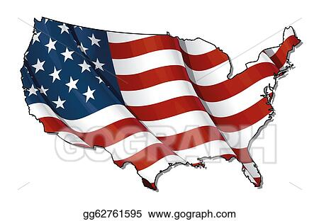 Flat Us Map.Drawings Us Flag Map Flat Clipping Path Stock Illustration