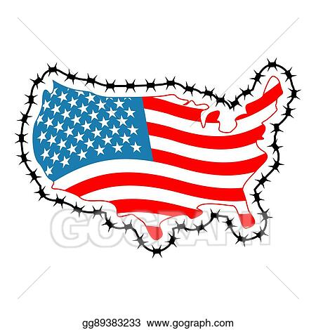 clip art vector us map with barbed wire america closes border in rh gograph com us map clipart us map clip art free
