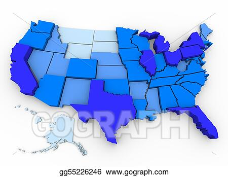 Stock Illustration Us population map of most populated states