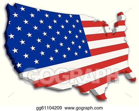 vector ilration a 3d us map with flag of the united states of america eps clipart gg61104209