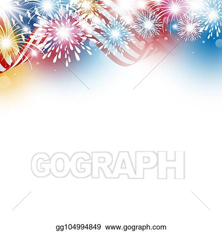 usa 4th july independence day design of american flag with fireworks on white background vector illustration