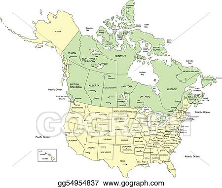 Vector Illustration Usa States And Canada Names Stock Clip - Canada usa map states and provinces