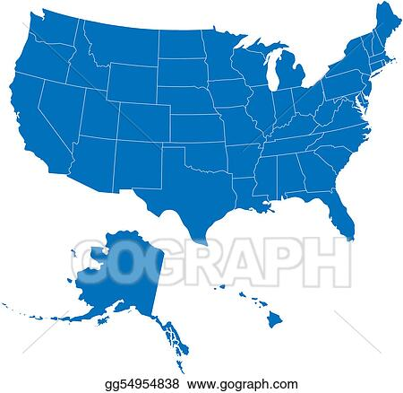 Vector Stock - Usa 50 states blue color. Clipart Illustration ...
