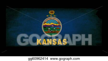 stock illustration usa american kansas state map outline with