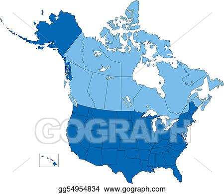 EPS Illustration - Usa and canada, states and provinces, blue color ...
