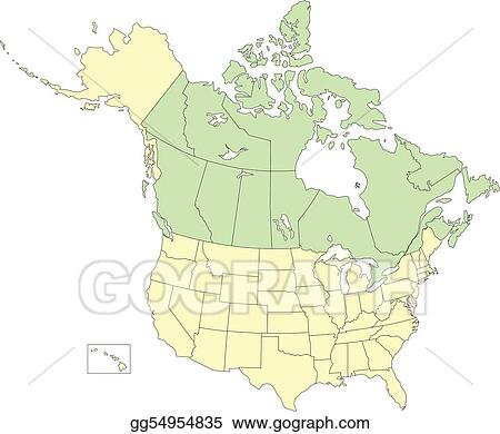Vector Clipart - Usa and canada, states and provinces. Vector ...