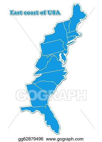 Clip Art - Usa east coast map. Stock Illustration gg62879496 - GoGraph
