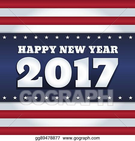 usa flag 2017 new year card