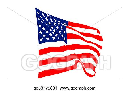 Drawing Usa Flag Blowing In The Wind Clipart Drawing Gg53775831