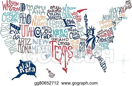 Vector Stock - Usa hand drawn map vector. Clipart Illustration ...