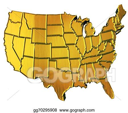 Drawings - Usa map 3d gold with states. Stock Illustration ... on gold in vermont, gold in california, gold in puerto rico, gold in united states, gold in turkey, gold in pennsylvania, gold in north dakota, in the civil war states map, gold in indiana, copper mining in the united states, us mining map, gold mines in usa, virginia gold mining, gold mining in alaska, gold in arkansas, gold country, gold deposits in usa, landslide united state map, latin america map,