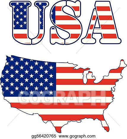 Vector Art - Usa map and text flag. EPS clipart gg56420765 - GoGraph