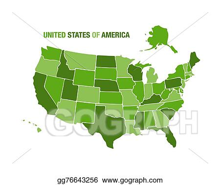 Clip Art Vector - Usa map illustration in green color. Stock ...
