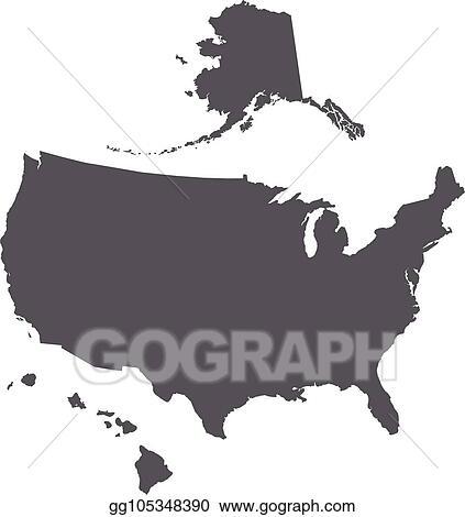Vector Stock - Usa map outline with alaska and hawaii ...