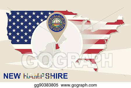 Vector Clipart Usa Map With Magnified New Hampshire State New
