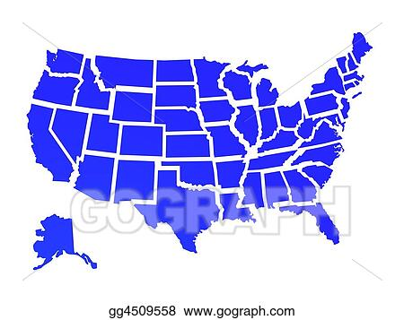 Stock Illustration Usa Map Clipart Drawing Gg4509558 Gograph