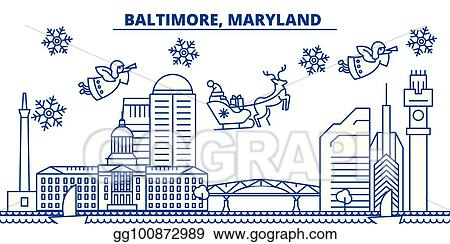 merry christmas and happy new year decorated banner winter greeting card with snow and santa claus flat line vector linear christmas illustration