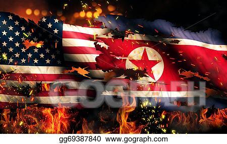 Stock Illustration Usa North Korea National Flag War Torn Fire