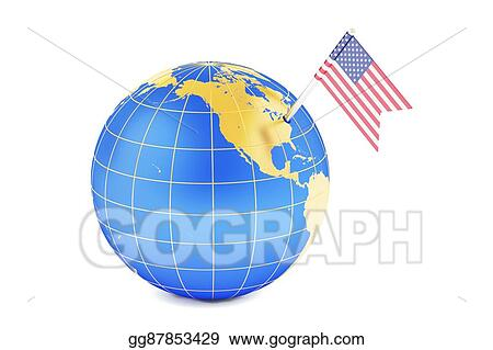 Us Map Globe.Stock Illustration Usa Pin Flag On Globe Map 3d Rendering