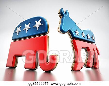 Clip Art Usa Political Party Symbols Stock Illustration