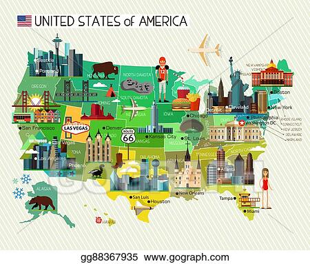 Eps Vector Usa Travel Map Stock Clipart Illustration Gg88367935 - Us-travel-map