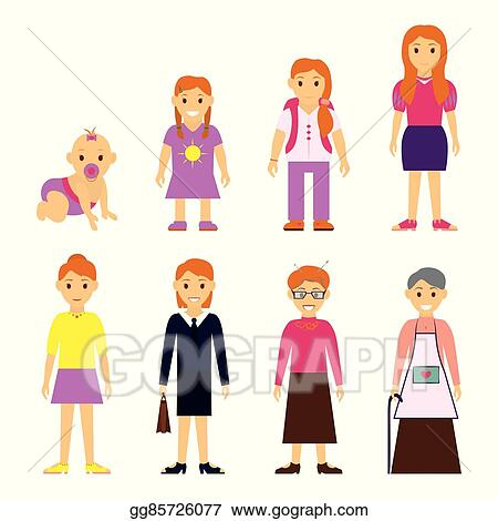 vector stock users generation at different ages woman aging rh gograph com