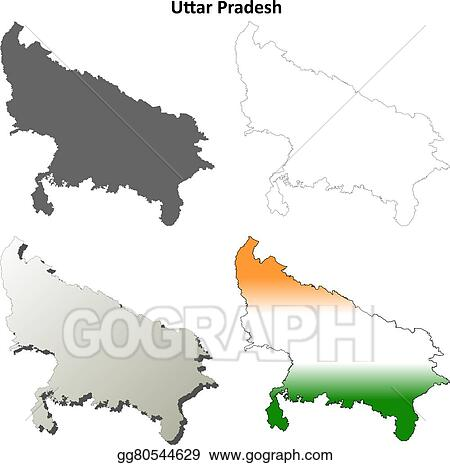 Vector Clipart Uttar Pradesh Blank Outline Map Set Vector