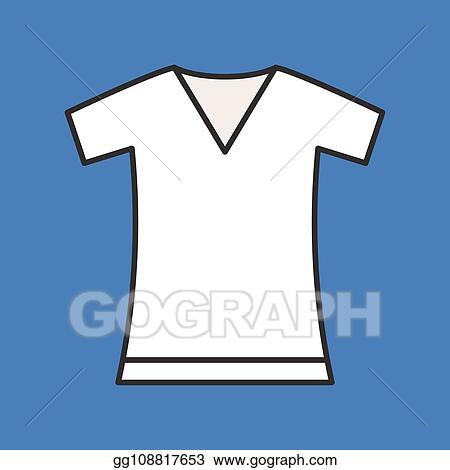 Clip Art Vector - V neck t shirt, filled color outline