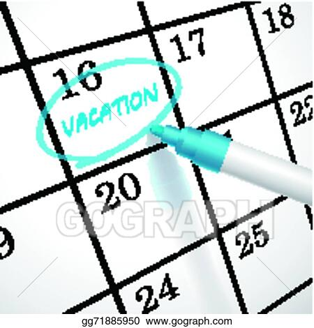 Eps Vector Vacation Word Circle Marked On A Calendar Stock