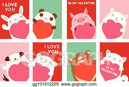 Vector Stock Valentine Banner With Cute Animals Clipart