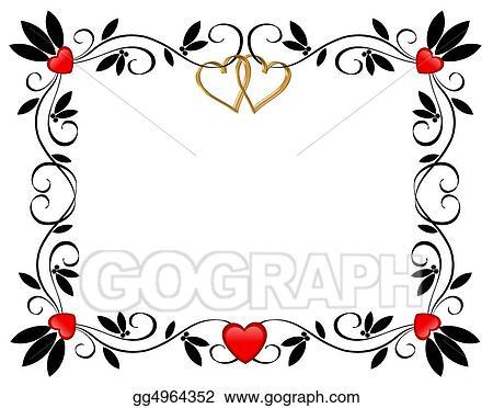 drawings valentine border hearts stock illustration gg4964352