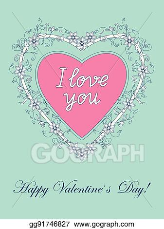 Vector Stock Valentine Card I Love You Clipart Illustration