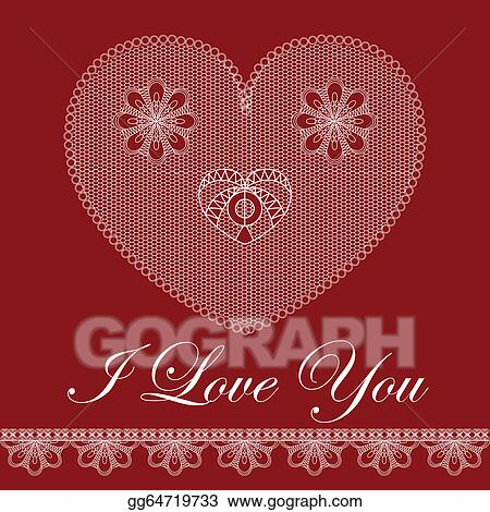Eps Vector Valentine Card With Lace Heart Stock Clipart